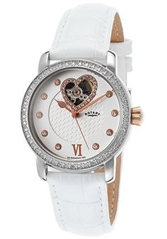 Rotary Automatic White Partial Skeletonized Dial Rose-Tone Case Watch - $119.99