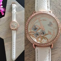 🍰20% Off Bundles! Beautiful Classic Floral Watch A perfect classic watch for any occasion! Beautiful floral face with rhinestone embellishments. Faux leather white strap. Beautiful!   ❌No trades, no PayPal, no holds 📷Instagram: @lovelionessie Accessories Watches