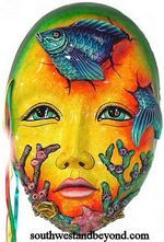 Mexican Clay Masks Exotic Art - 805-B Clay Mask Exotic 3-D Wall Decor – XL