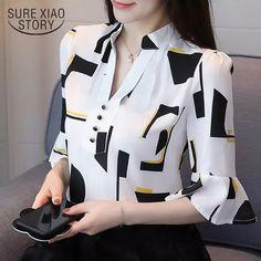 2018 nova chegou moda feminina encabeça metade impressos blusas de manga comprida mulheres chiffon roupas plus size mulheres camisas blusas 1195 40