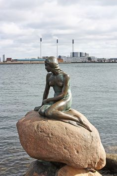 the famous Copenhagen little mermaid, ...