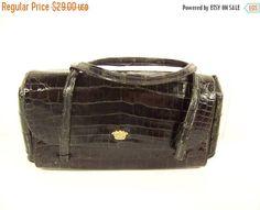 60% OFF Christmas Sale Vintage 60s Koret Black Genuine Reptile Handbag Clutch Purse Oblong