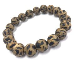 Bead Bracelet, Wood & Black Matte Onyx, Stretch, Unisex Bracelet, Gift for Her, Gift for Him, Mens Jewelry, Elastic Stretch Cord #StretchBracelet #BohoBracelet #BeadedBracelet #MensBracelet #BohemianBracelet #GiftForHer #GiftForHim #BeadBraceletWomen #BohoJewelry #BeadBraceletMen