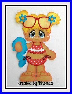 BIKINI GIRL BLONDE SUMMER BEACH for Premade Scrapbook Pages Die Cut Rhonda • CAD 7.85