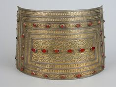 Turkoman silver and cornelian frontal plate which forms part of bridal jewellery, 36 cm by 17 cm.