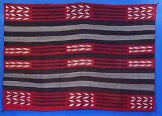 Second phase Navajo Chief blanket pattern influence with adaptation.  AAIA, Inc. deals in antique & contemporary Native American Indian art and artifacts. We Buy, Sell, Consign, Appraise, Restore & Research. #Antique #American #Indian #Art (949) 813-7202 mwindianart@gmail.com