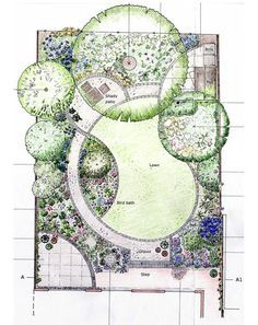 Designing garden layout.  I'm loving the curves in this layout.