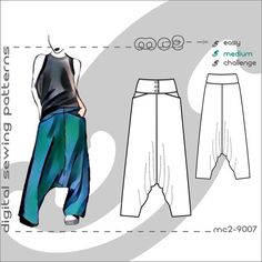 Harem Sarouel Afghan Pants with Buttoned Yoke & by mc2patterns