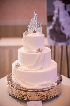White princess wedding cake ideas. #whiteweddingcake