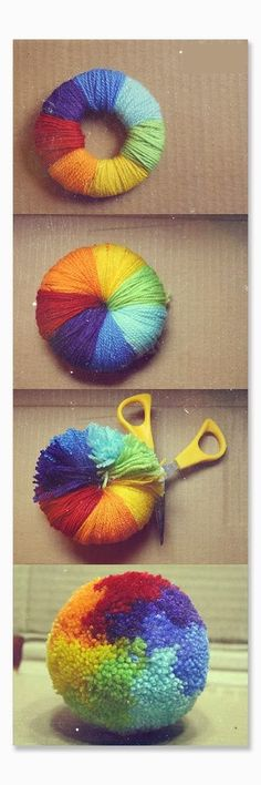 Do this in white yarn and you could have a great snowball fight! Yarn ball. I remember doing this as a kid!