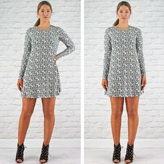 Glamorous White With Black Flower Print Long Sleeve Swing Dress Available Instore And Online www.pinkcadillac.co.uk