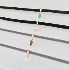 Super Thin Velvet Chokers with Crystals/Stones – Long Lost Jewelry