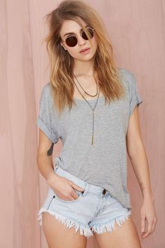 loose tee + layered necklaces