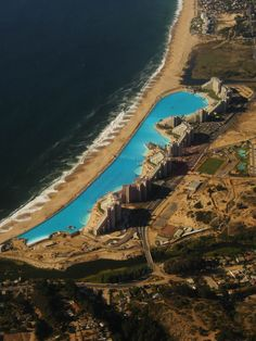 World's largest swimming pool ... San Alfonso del Mar aerial satellite from above Algarrobo Chile