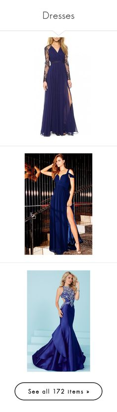 """""""Dresses"""" by geekyanddeath on Polyvore featuring dresses, gowns, long sleeve dress, blue long dress, long evening gowns, blue maxi dress, long sleeve evening gowns, evening dresses, off-shoulder maxi dresses and navy evening dress"""