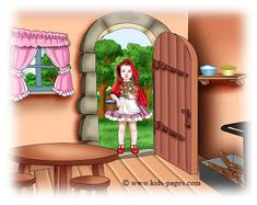 keep sharing your light :): ~ Little Red Riding Hood ~ Little Birds, Little Red, Sleeping Wolf, Red Riding Hood Story, Kids Pages, Stories For Kids, Big Eyes, Fairy Tales, Running