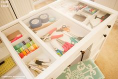 Featured Blog: This is an amazing craft desk! Love how you can see your supplies thru the top. http://www.theoriginalscrapbox.com/