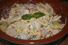 tortellini salad - tortellini, ham, tomatoes, basil, yogurt and mayo
