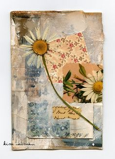 Daisy collage - Kim Naumann  I could use the flowers I have dried and saved for the perfect project.