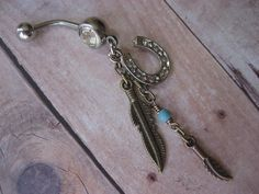 Lucky Horseshoe Feather Charm Dangle Belly Button Ring- Turquoise Bronze Horse Shoe South Western Navel Piercing.