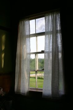 """Sheer Linen Curtain Set- 2 panels- each 26"""" wide- choose your length- Lightweight Gauze Linen- Eco-friendly- 100% Flax Linen"""