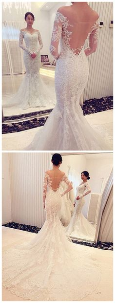 Trumpet/Mermaid Off-the-Shoulder Long Sleeves Lace Sweep/Brush Train Wedding