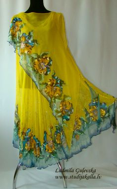 Natural silk dress - handmade artwork, silk painting, yellow floral dress, pansy