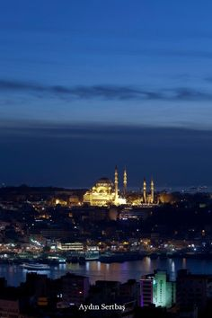 Suleymaniye mosque and Istanbul by night