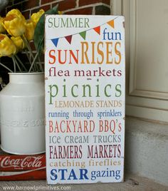 Summer Fun with Bunting Typography Word Art by barnowlprimitives