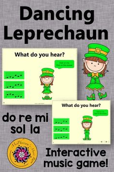 Working on aurally identifying pentatonic melodies with your elementary music students? Get ready for a built in brain break as your students giggle and dance along with the leprechaun. Perfect for March, St. Patrick's Day or anytime and works with or without a Smartboard!