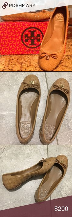 Authentic TB Woven leather flats.. 2016 style Features a tiny bow and logo ornament detail and a round- toe ballet flat in textured woven leather. Shoe is made upper leather, lining and sole. Imported. You will love these and get compliments every time you wear them... Tory Burch Shoes Flats & Loafers