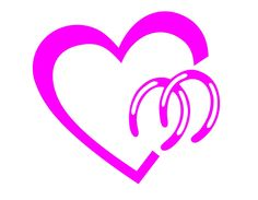 """Amazon.com: Heart with Horse Shoes Love Your Horses 4"""" Hot Pink Vinyl Decal Sticker: Automotive"""
