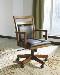 H641-01A traditional, wood brown cushioned desk arm chair, high back, 5 caster legs adjustable