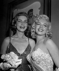 """margaretroses:  """" Lauren Bacall and Marilyn Monroe at the LA premiere of How To Marry a Millionaire on 4 November, 1953.  """"""""I couldn't dislike Marilyn. She had no meanness in her - no bitchery. She just had to concentrate on herself and the people who..."""