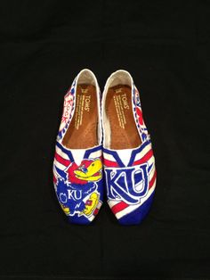 University of Kansas Custom Painted Toms Canvas Shoes on Etsy, $105.00 WANT!!!