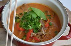 Maaltijdsoep met rode curry en kokosmelk