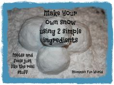 "Make your own ""Fake"" sensory snow that feels real using only 2 ingredients. Must try lots of fun!!"