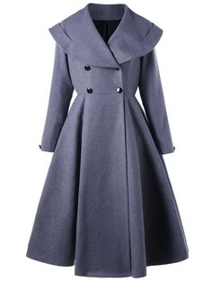 Double Breasted Fit and Flare Waterfall Coat, BLUE GRAY, XL in Jackets & Coats | DressLily.com