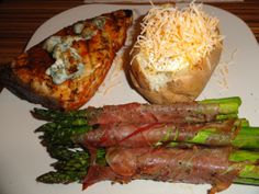 Black and Blue Marlin with Caramelized Onions Prosciutto wrapped Asparagus serve with simple baked potato