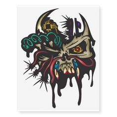 Evil Horned Cyborg Skull Temporary Tattoos