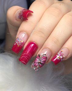 Pretty Nail Art, Beautiful Nail Art, Gorgeous Nails, Cute Acrylic Nail Designs, Nail Art Designs, Magenta Nails, Glow Nails, Gel Acrylic Nails, Bride Nails