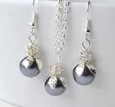 Dark grey bridesmaid jewelry set of necklace and by LaurinWedding, $15.00