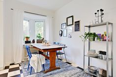 A great bay window gives charming character to the kitchen