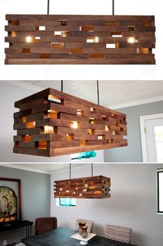 Walnut wood strips Pendant is part of Wood light fixture - This is my latest design, a midcentury modern style fixture with 4 bulbs I crafted this using solid Walnut wood strips in a slotted pattern with open are Rustic Light Fixtures, Rustic Lamps, Rustic Lighting, Rustic Wood, Decorative Lighting, Lighting Ideas, Outdoor Lighting, Wood Chandelier, Pendant Lighting
