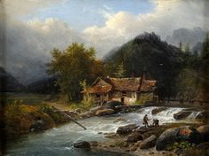 "Duesseldorfer Auktionshaus - ""Watermill on a Stream"" by Louis Etienne Watelet (1780-1866)"