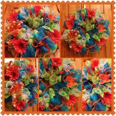 Deco Mesh Wreath Spring/Summer Colors..