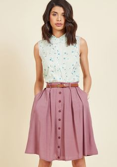 Browse bestsellers in your best look yet - this beautifully belted skirt! Designed with scholarly details, like pleats, hidden pockets, and decorative buttons, this ModCloth-exclusive bottom makes for one stylish reading experience. A Line Skirt Outfits, Pleated Skirt Outfit, Casual Skirt Outfits, Casual Skirts, A Line Skirts, Dress Skirt, Cute Outfits, Pleated Skirts, Midi Skirt