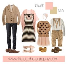 Blush / Tan family outfit inspiration: what to wear for a family photo session in the spring or summer. Created by Kate Lemmon, www.kateLphotography.com