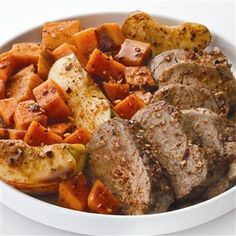 Bourbon Spiced Pork with Roasted Sweet Potatoes & Apples