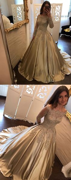 Long Sleeve Gold Lace A line Long Evening Prom Dresses, 2018 Gold Party Prom dress, Cheap Custom Evening Prom Dresses, 16169 from LoverDresses - Hochzeit Gold Prom Dresses, Prom Dresses Long With Sleeves, A Line Prom Dresses, Quinceanera Dresses, Ball Dresses, Bridal Dresses, Dress Long, Evening Dresses, Formal Dresses